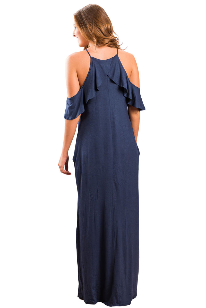 Navy Blue Ruffle Sleeve Cold Shoulder Maxi Dress - GHA Discount