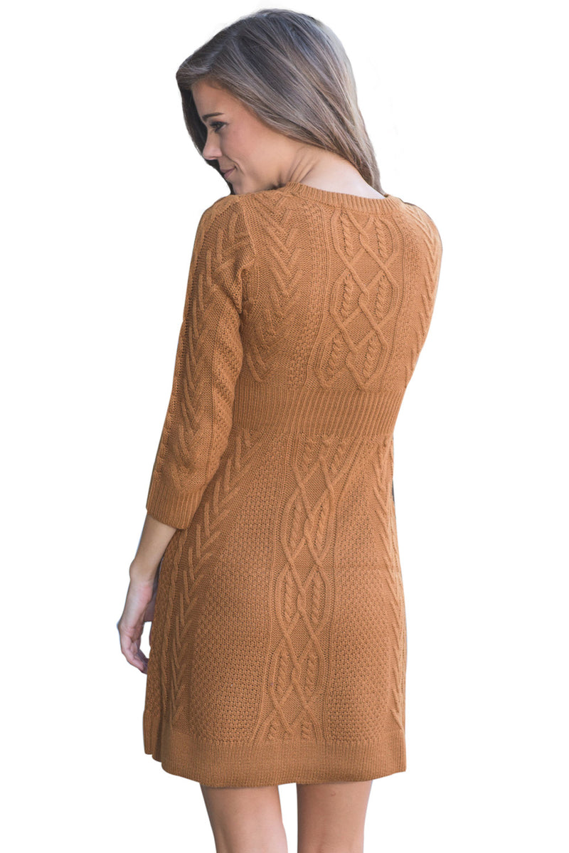 Brown Cable Knit Fitted 3/4 Sleeve Sweater Dress - GHA Discount
