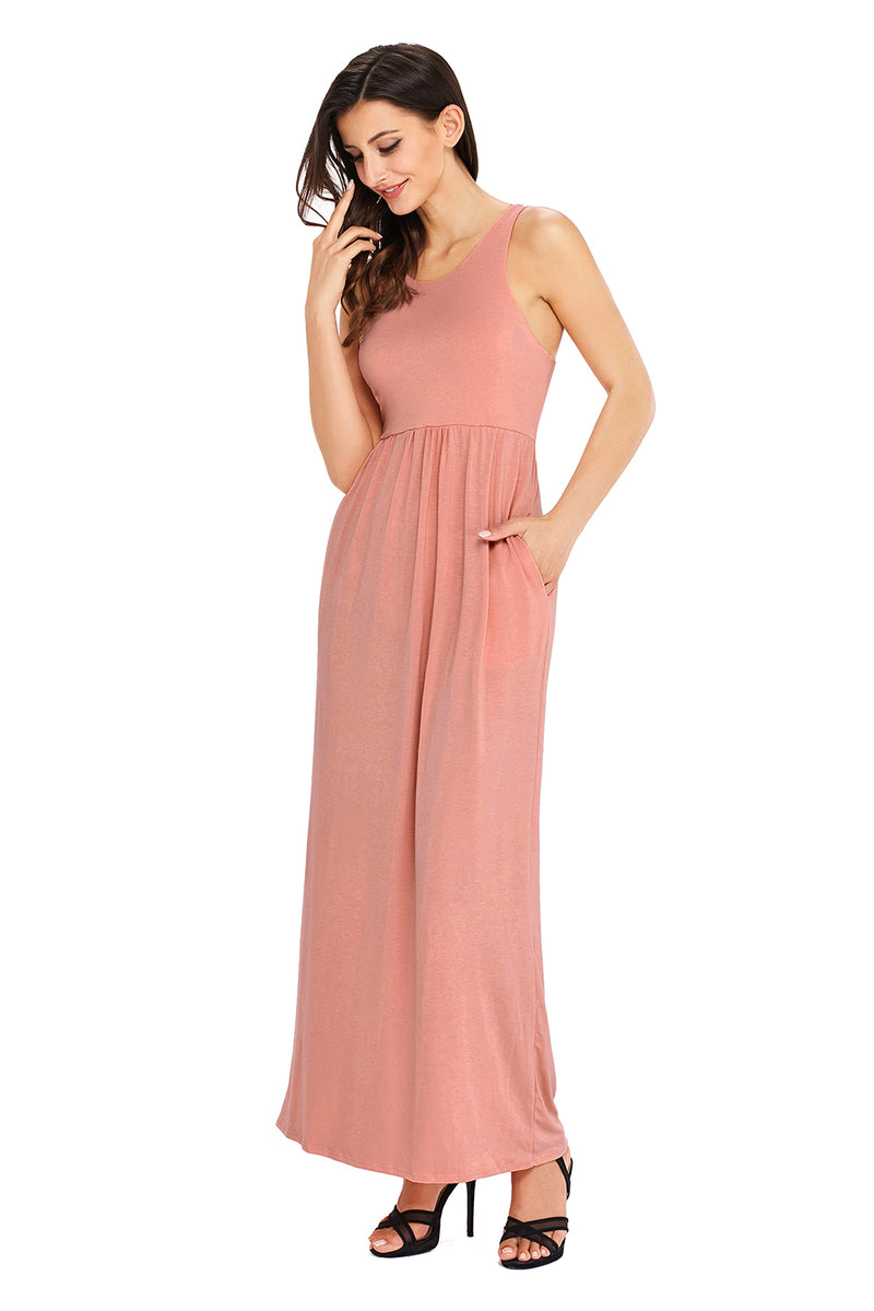 Pink Racerback Maxi Dress with Pockets - GHA Discount