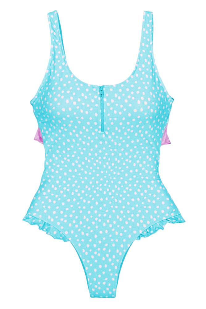 Blue Dotted Print Cheeky Monokini Swimsuit - GHA Discount
