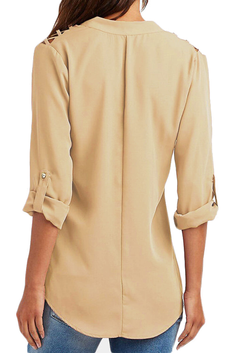 Khaki Crisscross Shoulder Detail Roll Tab Blouse - GHA Discount