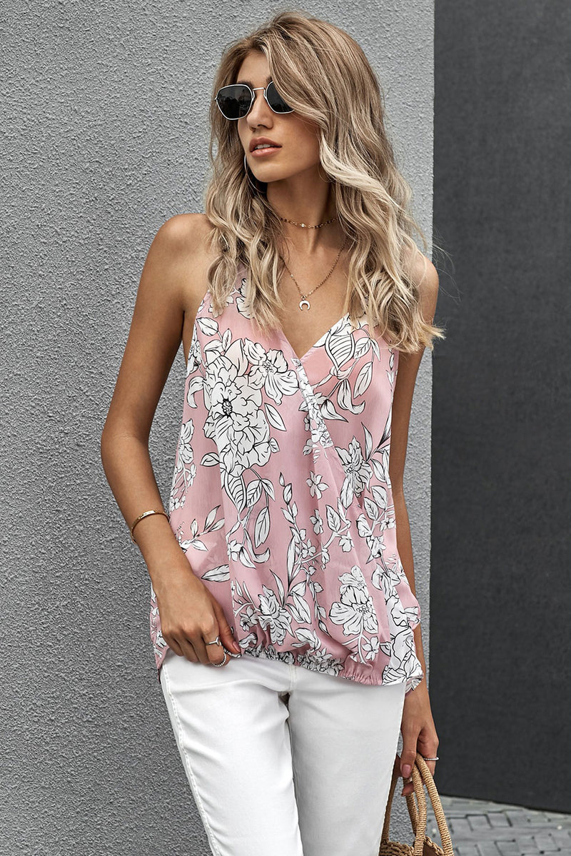 Pink Floral Drape Tank - GHA Discount