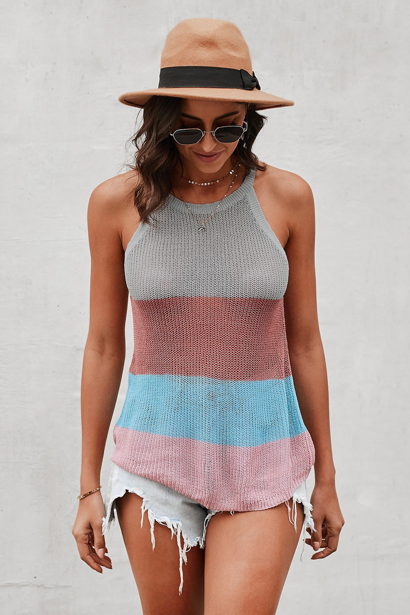 Multicolor Color Block Striped Knit Tank Top - GHA Discount