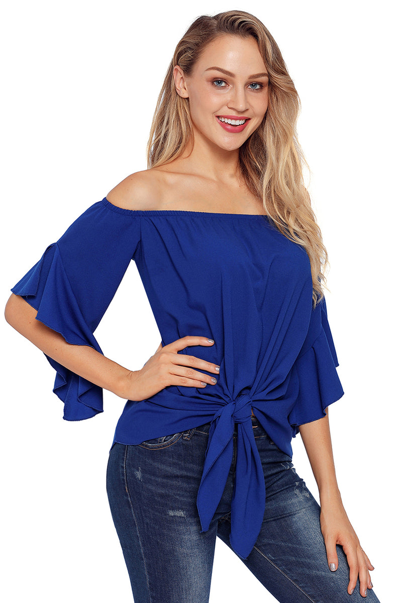 Blue Off The Shoulder Knot Front Top - GHA Discount