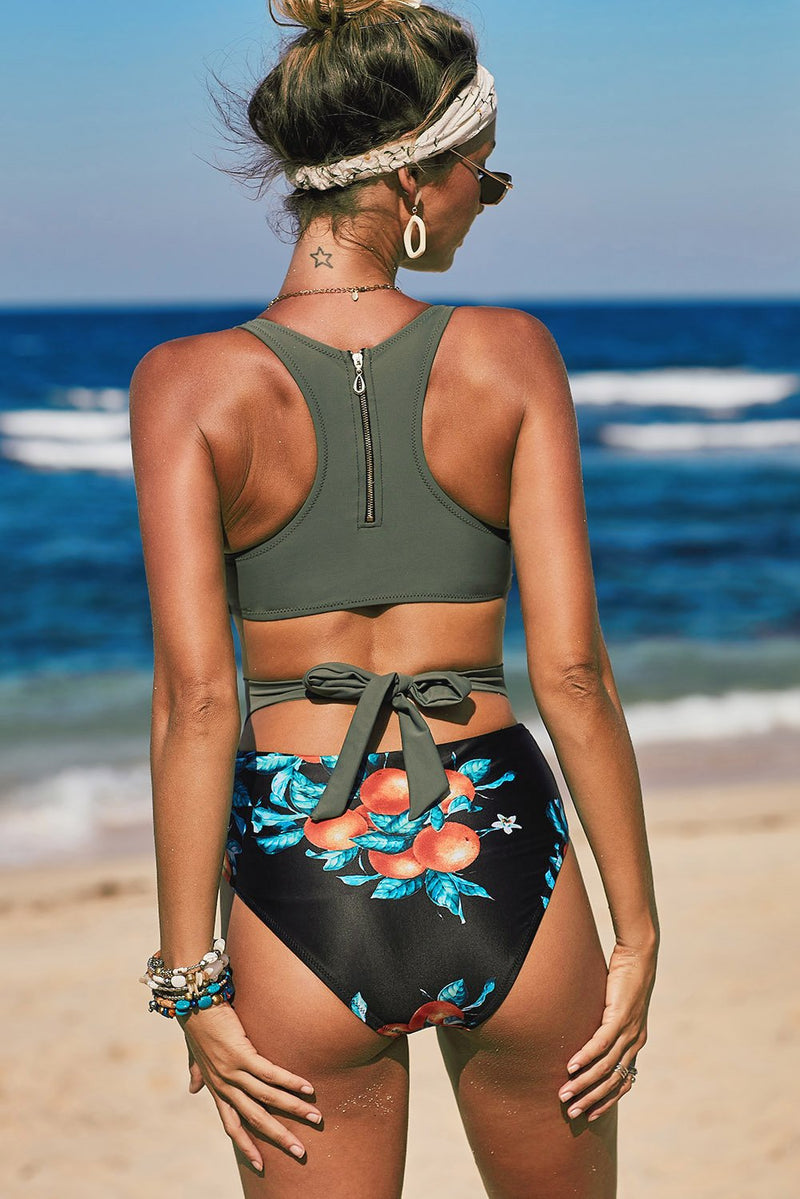 Green Printed Zipped Racerback Maillot