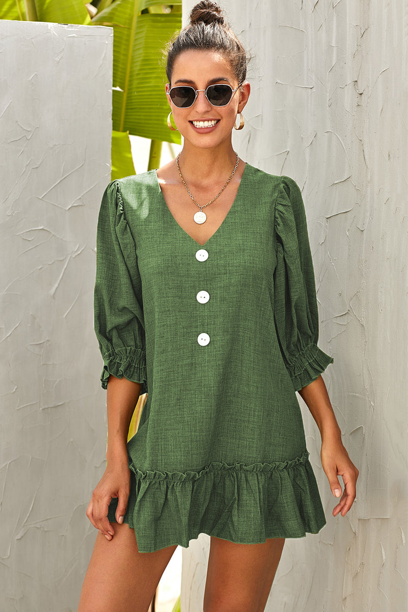 Green Casual Loose V Neck Short Swing Dress - GHA Discount