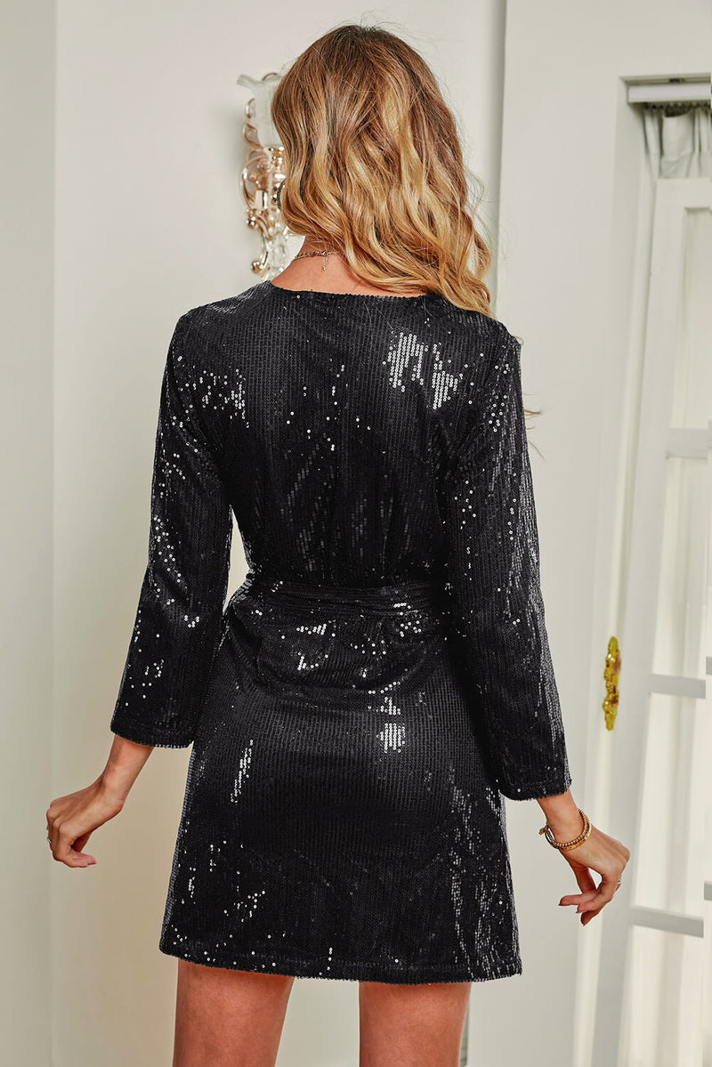 Black Sequin Wrap Dress with Sash - GHA Discount