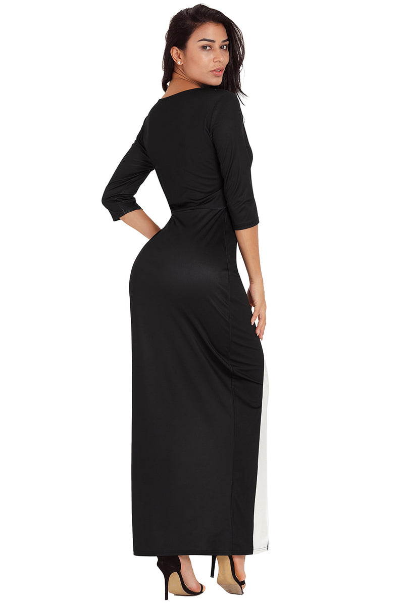 Black White Color Block Side Slit Maxi Dress - GHA Discount