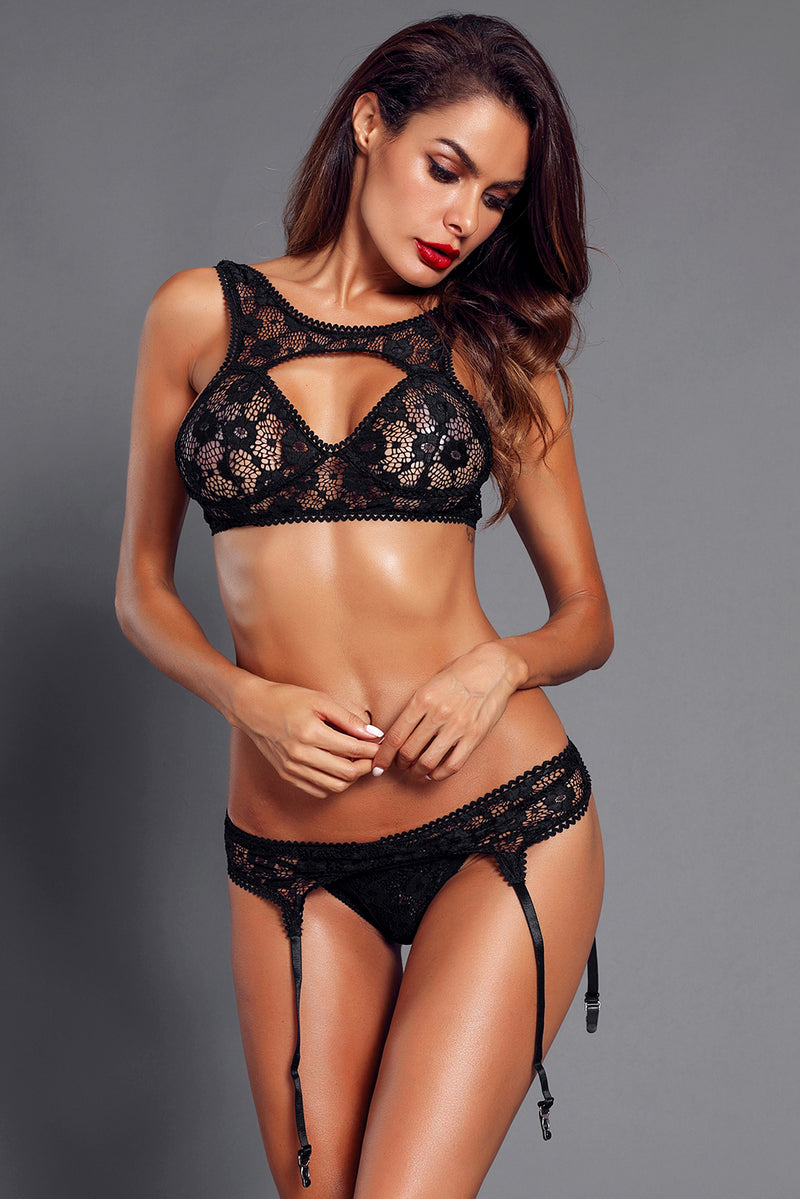 Seductive Black Lace Bralette Garter Set - GHA Discount