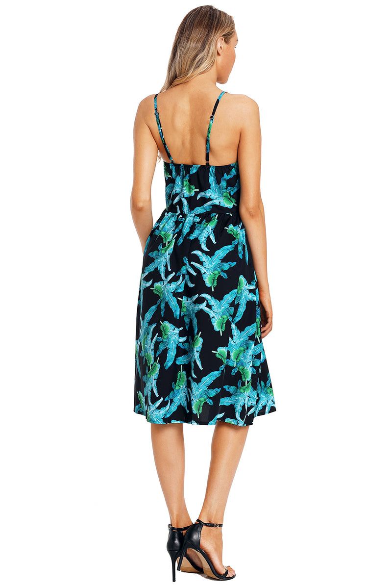 Green Leaf Print Black Button Down Sundress - GHA Discount