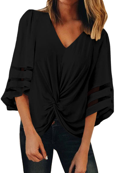 Flared Sleeve Twisted Loose Blouse - GHA Discount