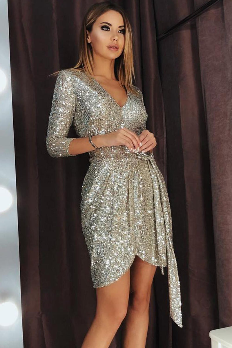 Silver 3/4 Sleeve V Neck Sash Tie Sequin Party Dress - GHA Discount