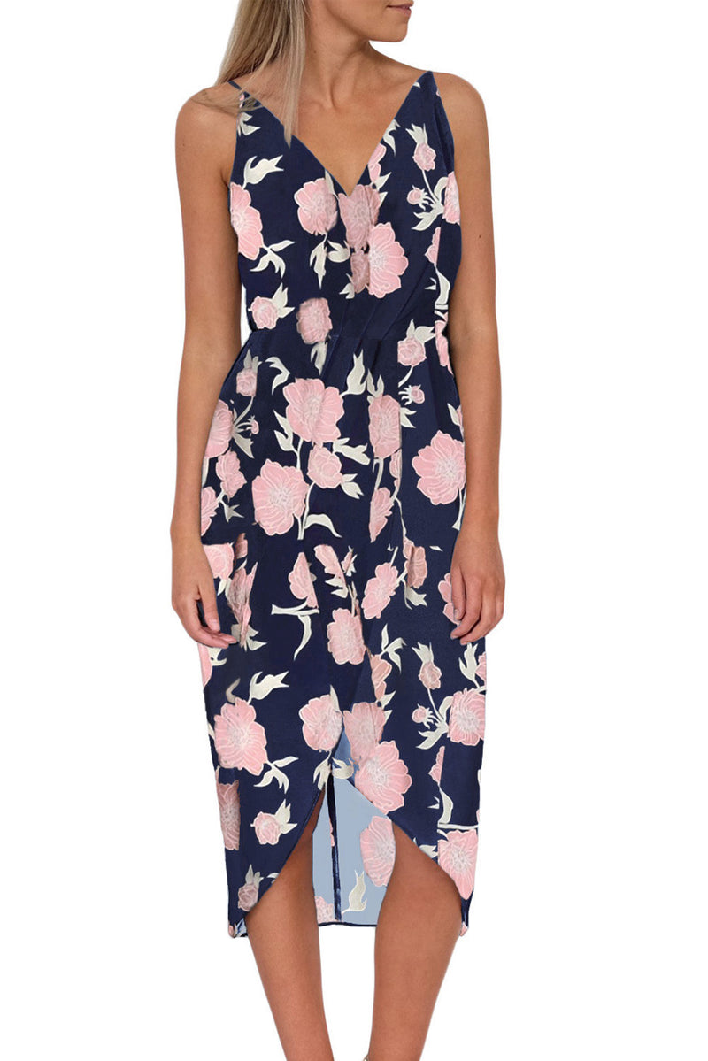 Blue V Neckline Sleeveless Floral Dress - GHA Discount