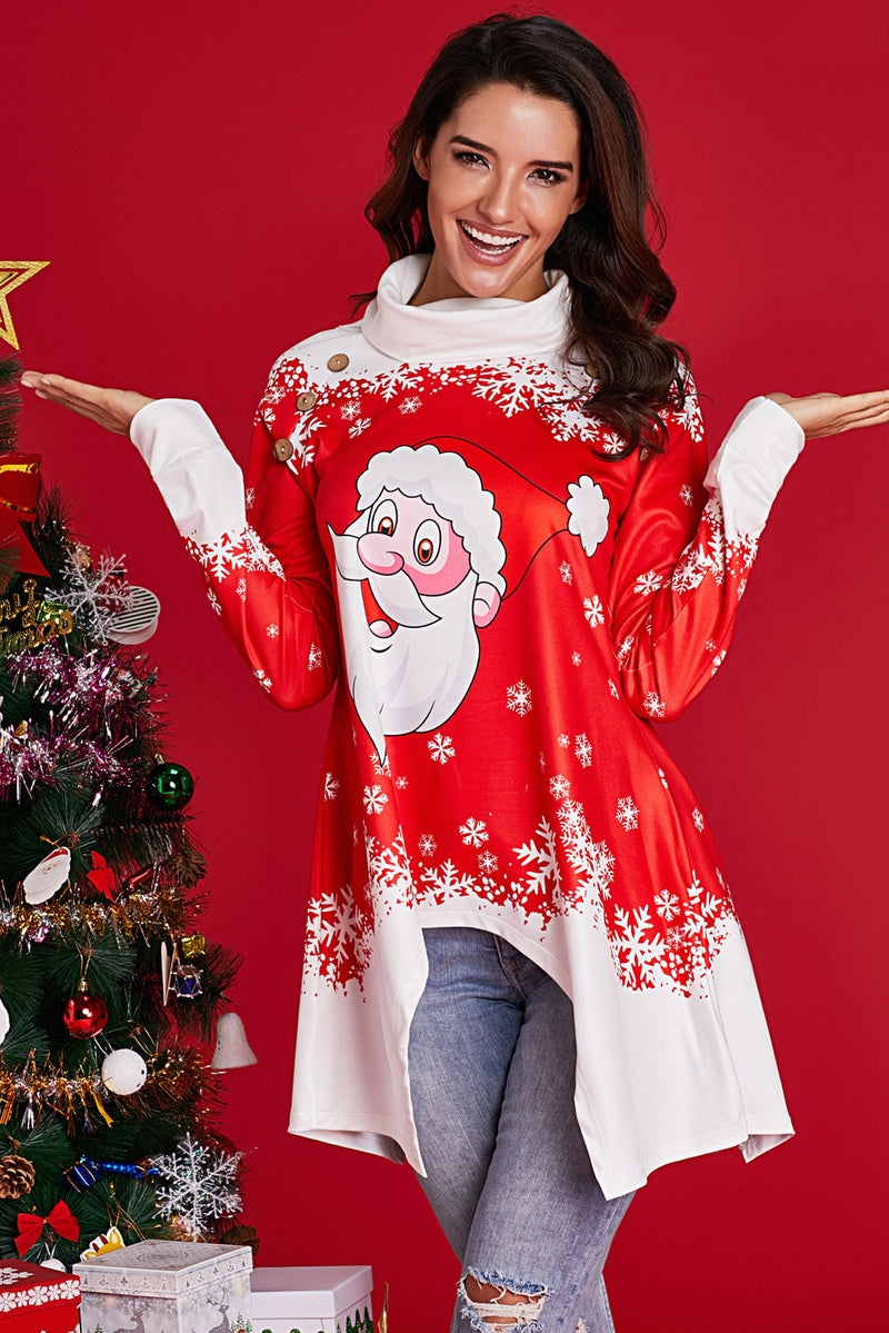 Cowl Neck Santa Claus Accent Xmas Tunic Top - GHA Discount