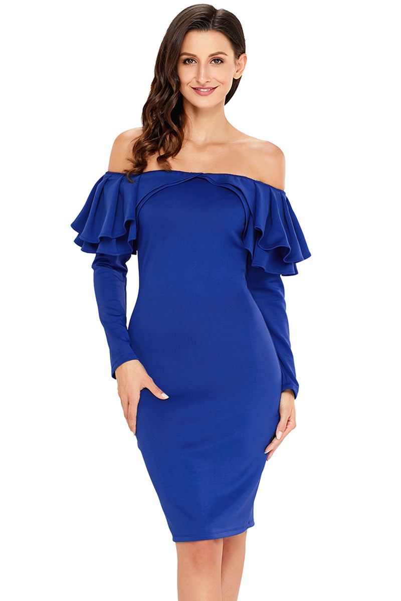 Royal Blue Ruffle Off The Shoulder Long Sleeve Bodycon Dress - GHA Discount