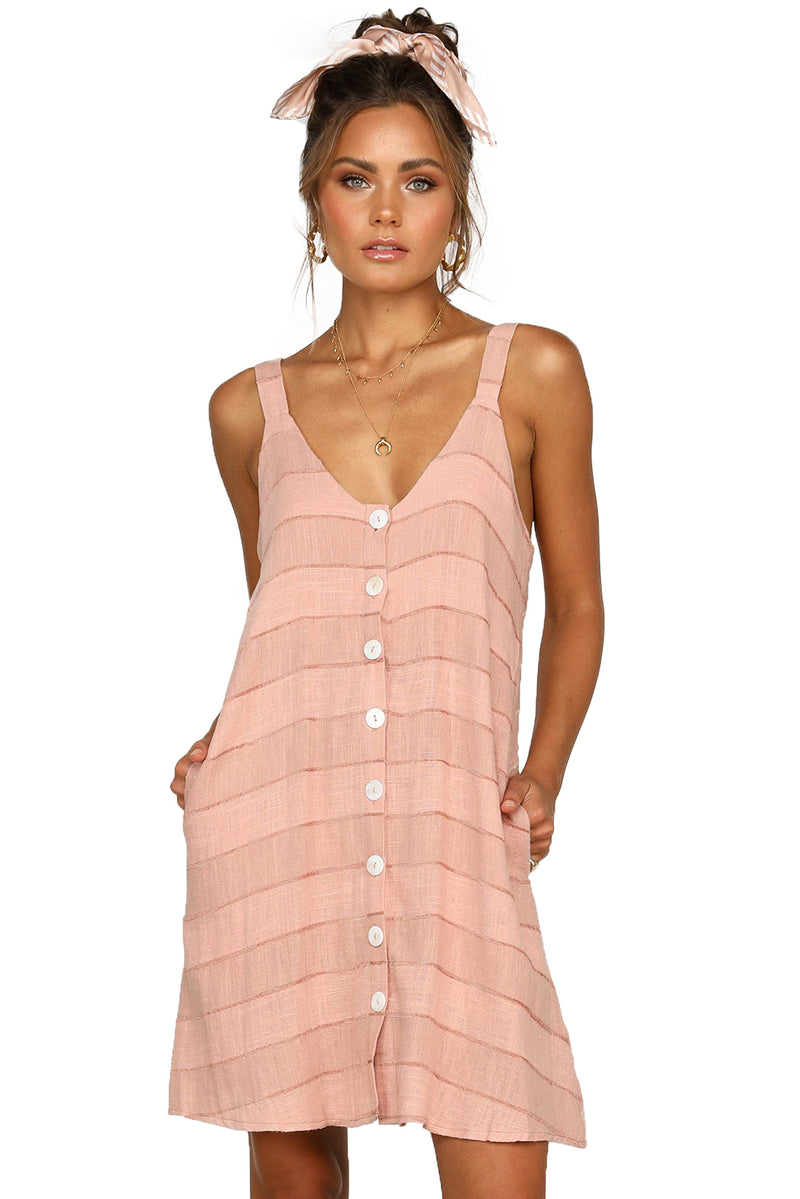 Pink Buttoned Loose Fit Summer Slip Dress - GHA Discount