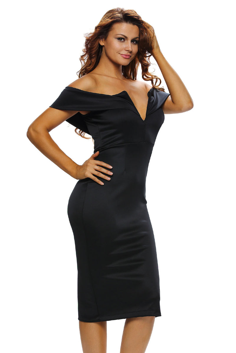 Black Off-the-shoulder Midi Dress - GHA Discount