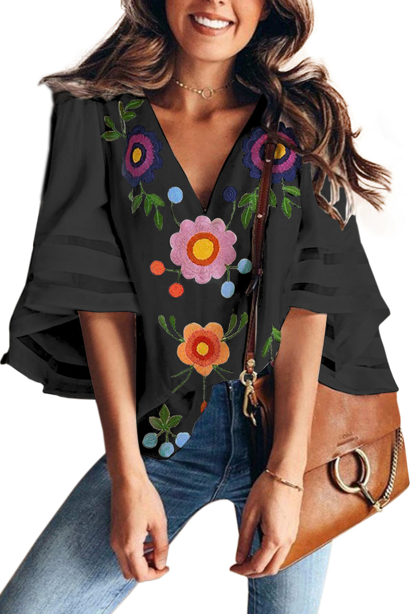 Black Sexy V Collar Floral Print Bell Sleeve T-shirt Blouse - GHA Discount