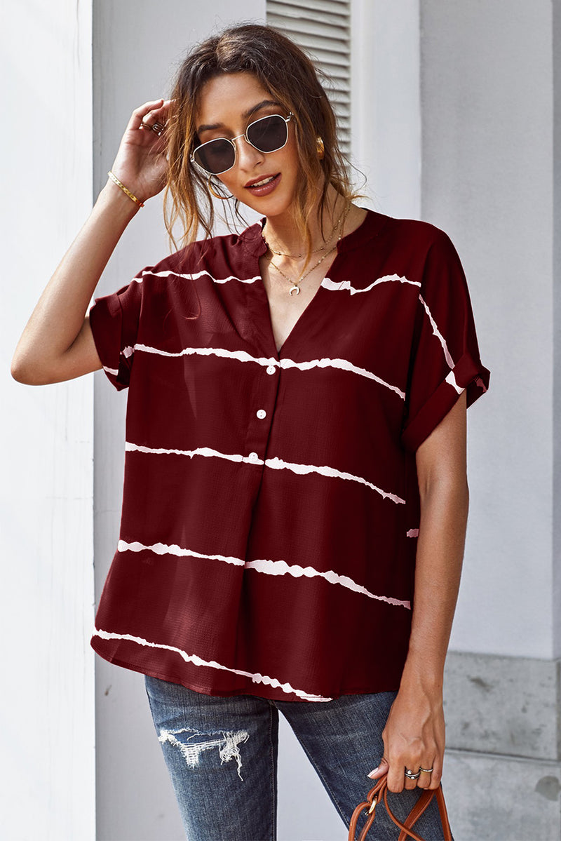 Striped Folded Short Sleeve Shirt - GHA Discount