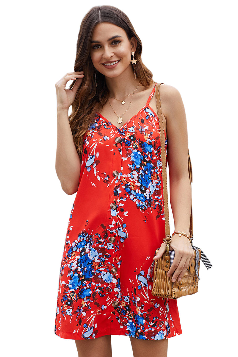 Orange Floral Pattern Buttoned Slip Cami Dress - GHA Discount