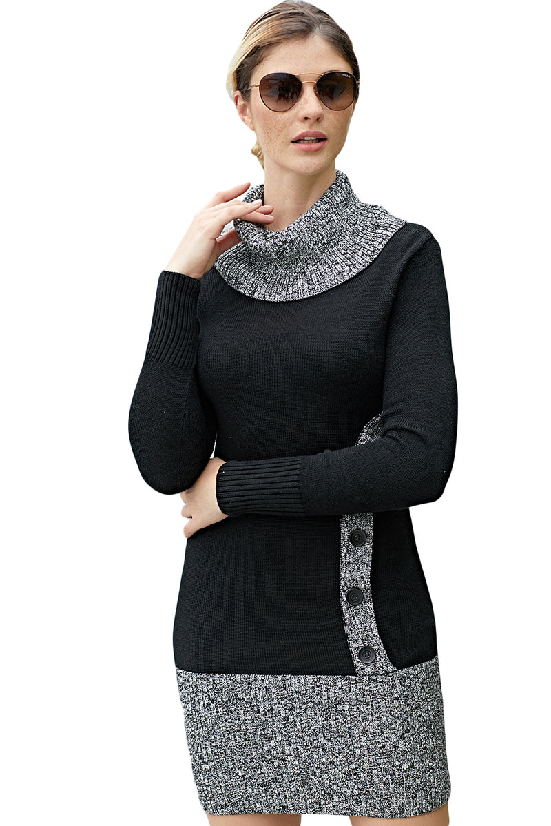 Black Gray Button Front Sweater Dress - GHA Discount