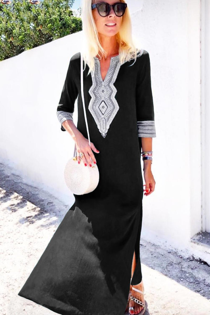 Black Casual Crochet Embroidered Slit Summer Dress - GHA Discount