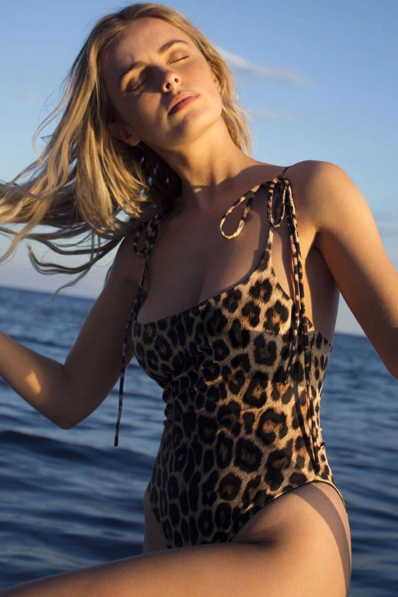 Leopard Print High Cut Tie Shoulder Straps One Piece Swimsuit - GHA Discount