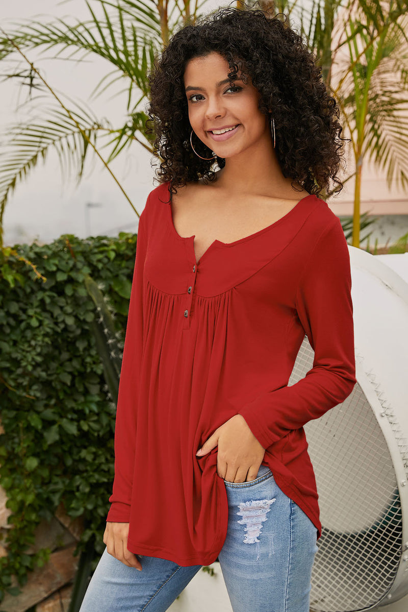 Red Long Sleeve Button up Pleated Tunic - GHA Discount