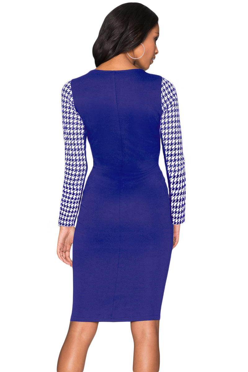 Cobalt Blue Houndstooth Patchwork Pencil Midi Dress - GHA Discount