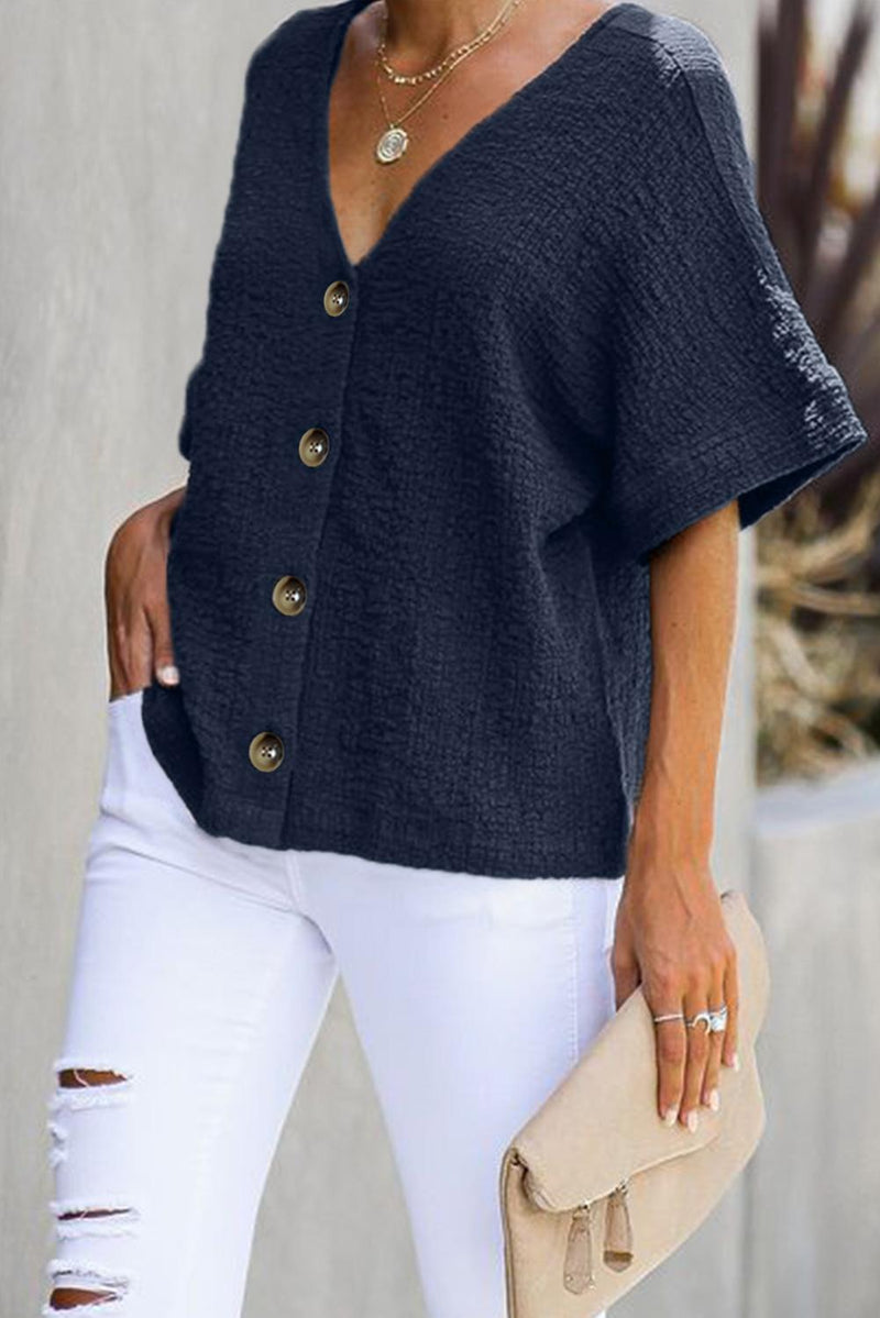 Blue Soak It Up Cotton Button Down Blouse - GHA Discount