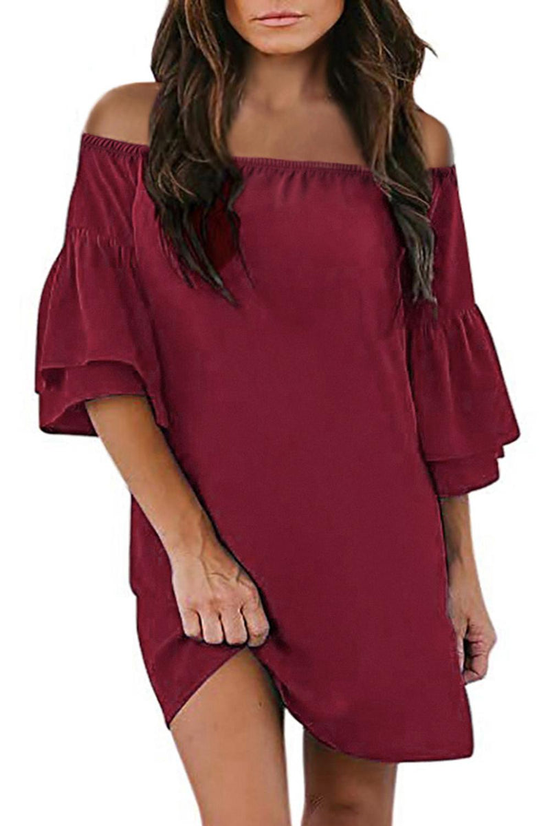 Red Off Shoulder Ruffled Sleeve Shift Dress - GHA Discount