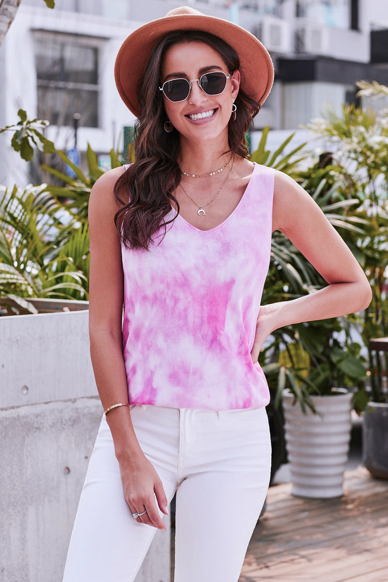 Pink Washed Effect Tie Dye Tank - GHA Discount