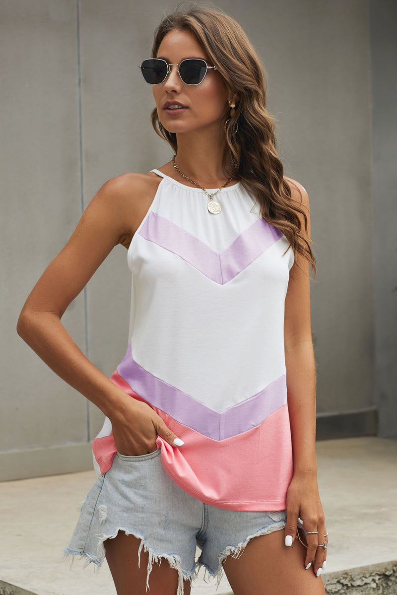 Pink Violet Chevron Color Block Flowy Tank Top - GHA Discount