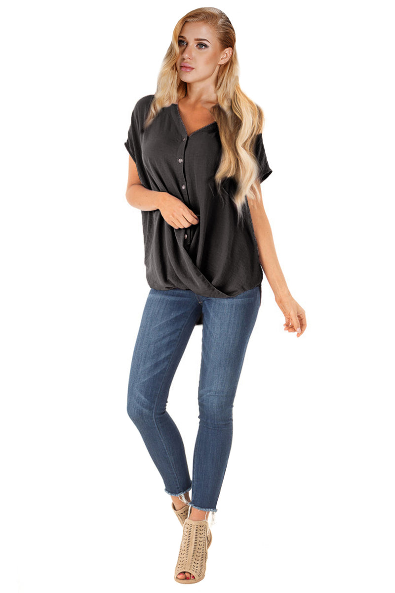 Black Short Sleeve Button up Blouse with Twisted - GHA Discount