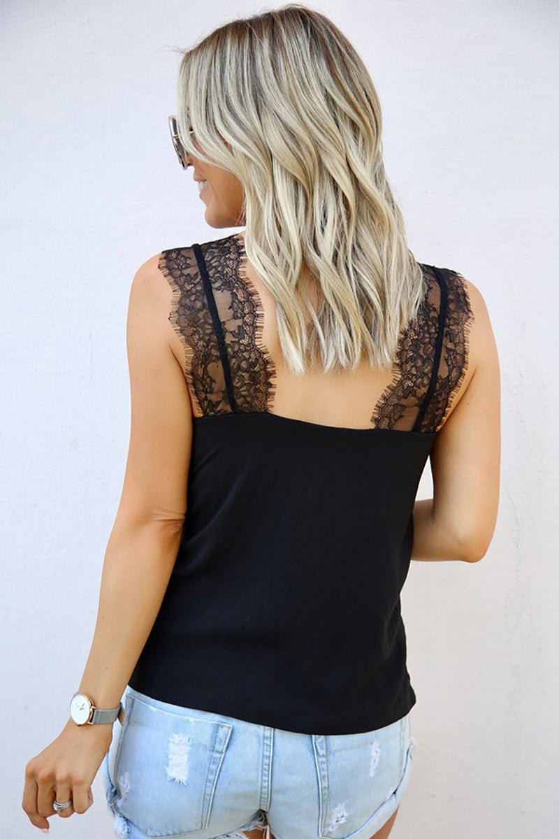 Black V Neck Lace Strappy Cami Tank Top - GHA Discount