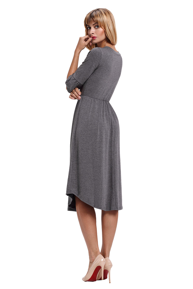 Gray Ruffle Sleeve Midi Jersey Dress - GHA Discount