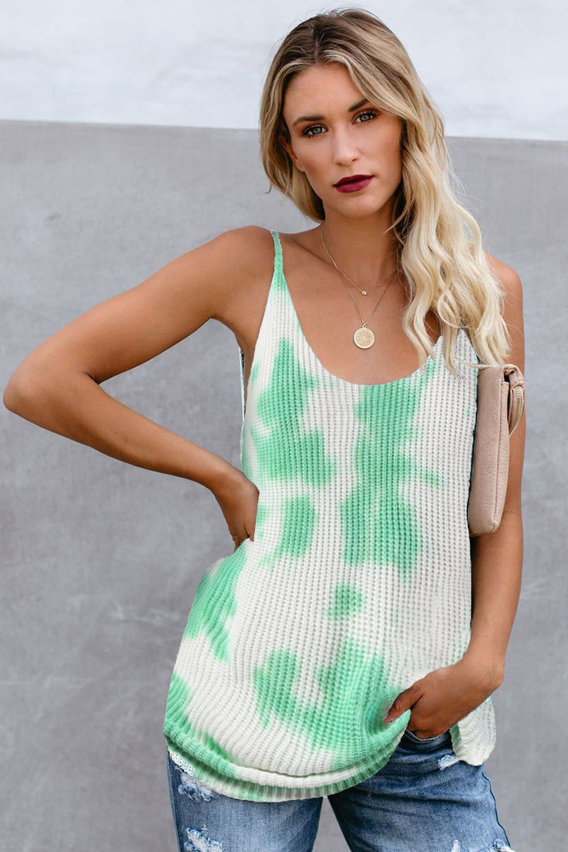 Green Tie Dye Print Knit Tank Top - GHA Discount