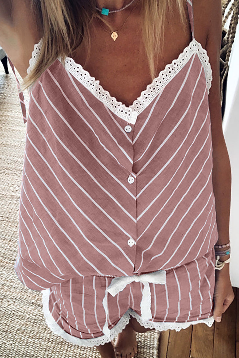 Pink Stripes Frill Trim Cami Pajamas Set - GHA Discount