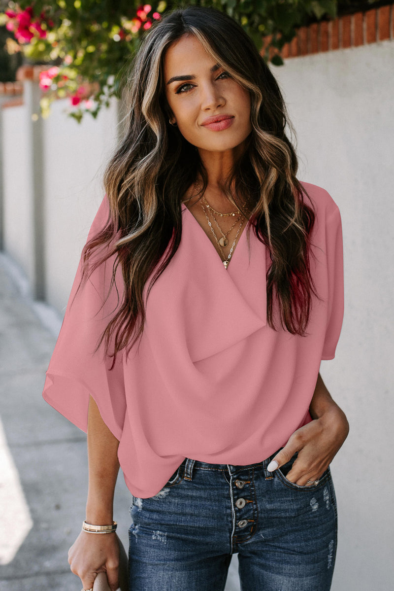 Pink Draped Blouse - GHA Discount