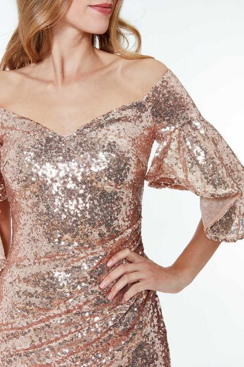 Apricot Off The Shoulder Sequined Maxi Dress - GHA Discount
