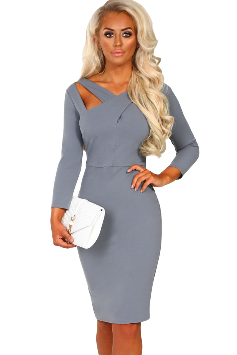 Gray 3/4 Sleeve Cross Over Bodycon Midi Dress - GHA Discount