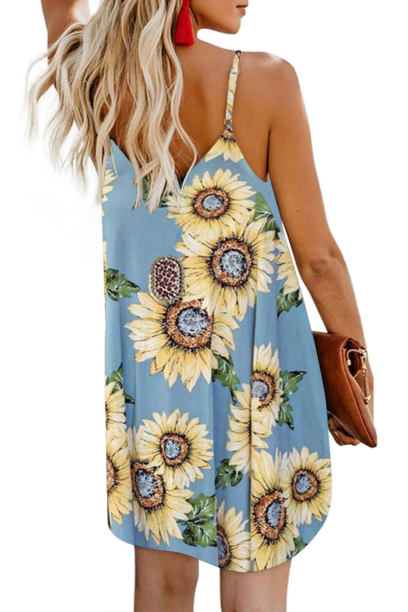 Sky Blue Sunflower Pattern Buttoned Slip Cami Dress - GHA Discount