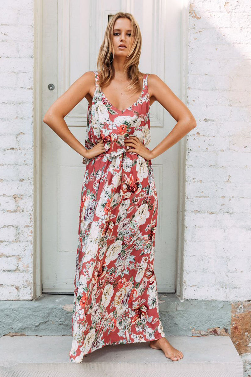 Chic Summer Boho Floral Maxi Dress in Pink - GHA Discount