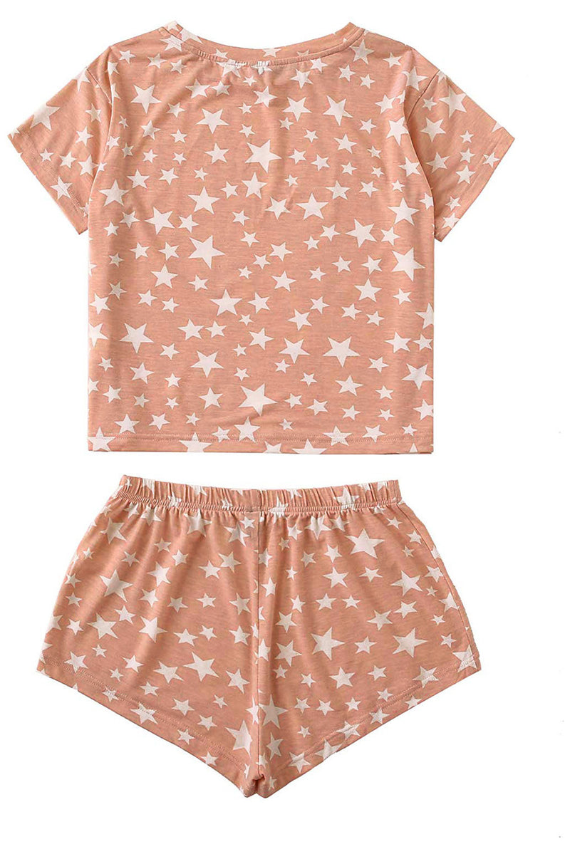 Pink Star Print Home Pajamas Set - GHA Discount