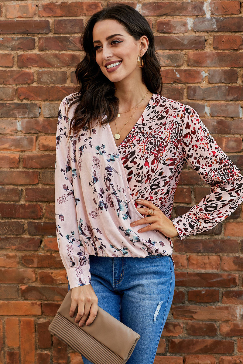 Mixed Print Drape Blouse - GHA Discount
