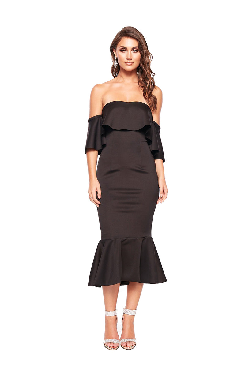 Black Sexy Off Shoulder Ruffled Cocktail Dress - GHA Discount