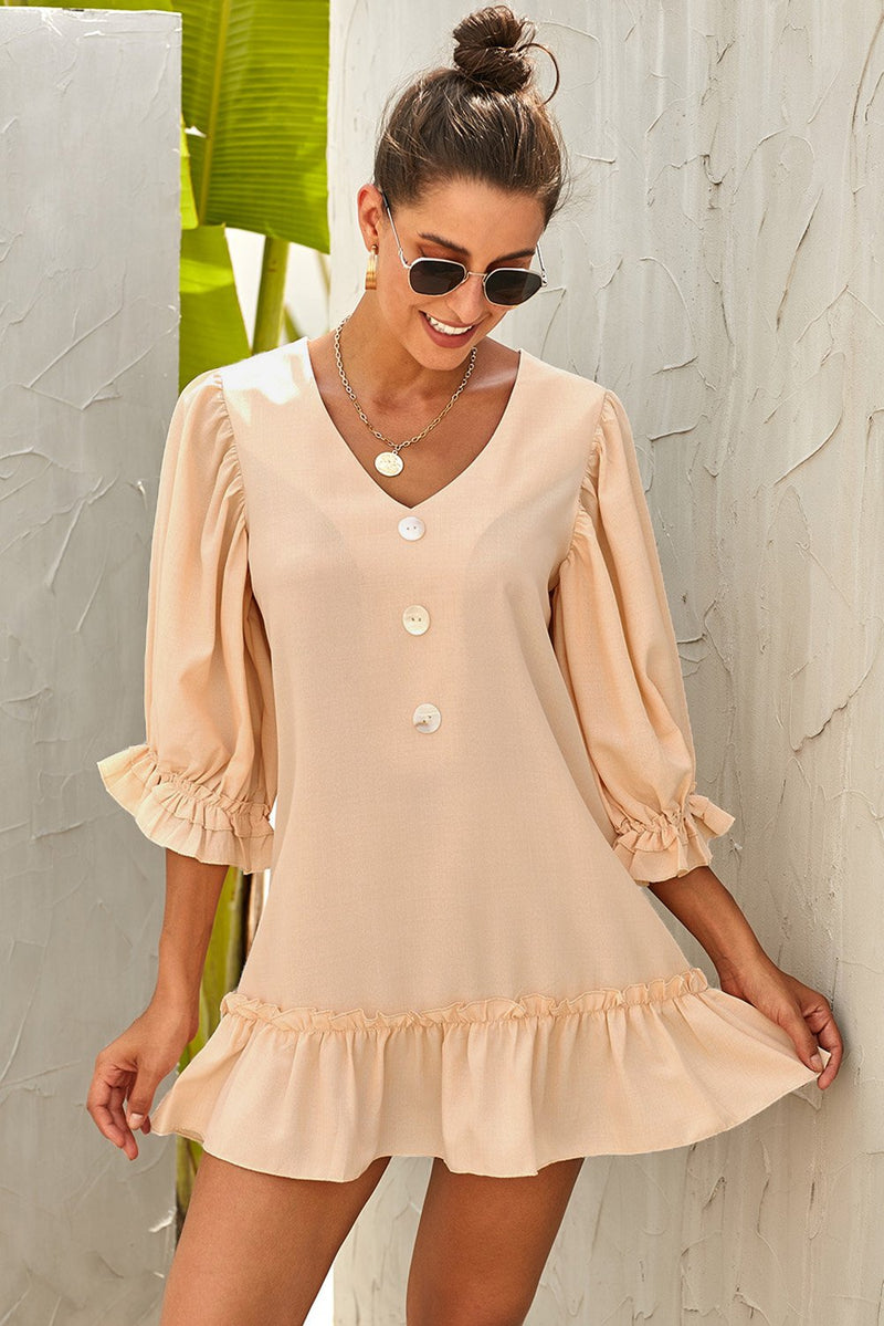 Beige Casual Loose V Neck Short Swing Dress - GHA Discount