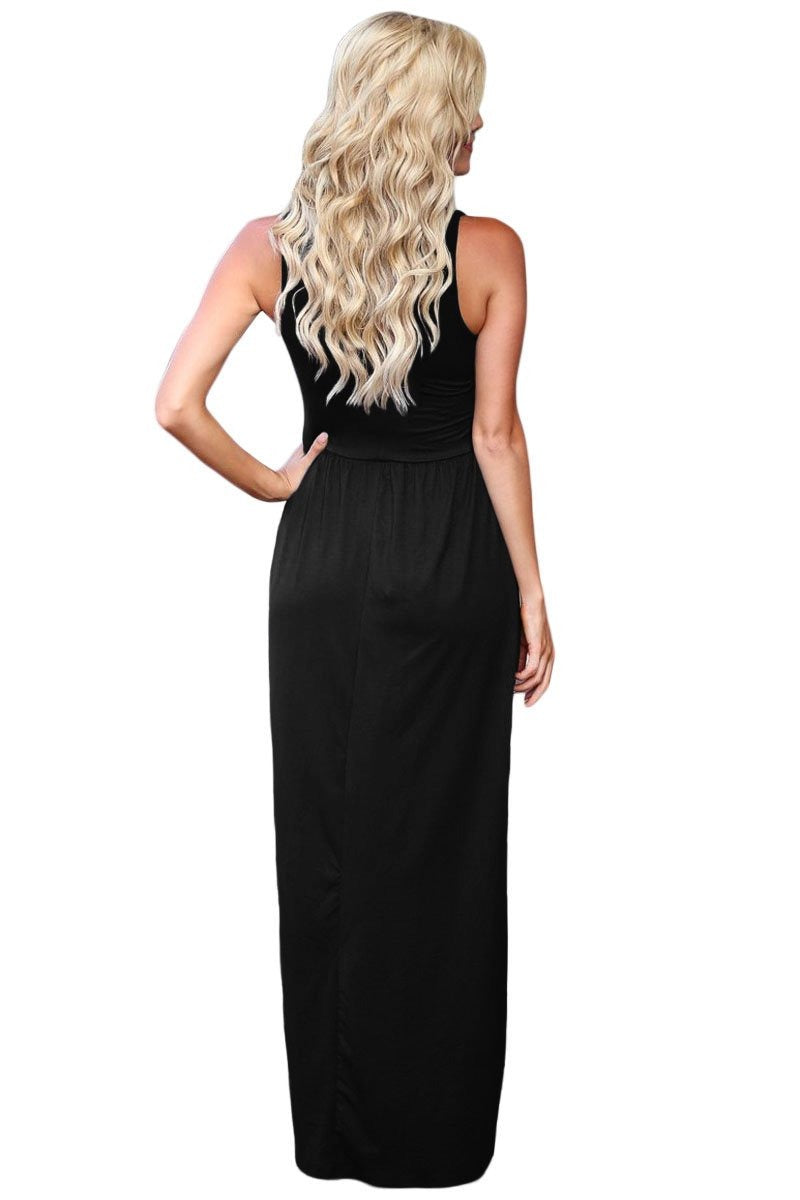 Black Crisscross Neck Detail Sleeveless Maxi Dress - GHA Discount