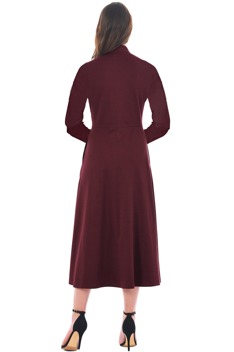 Purplish Red Side Button Mandarin Collar A-line Midi Dress - GHA Discount