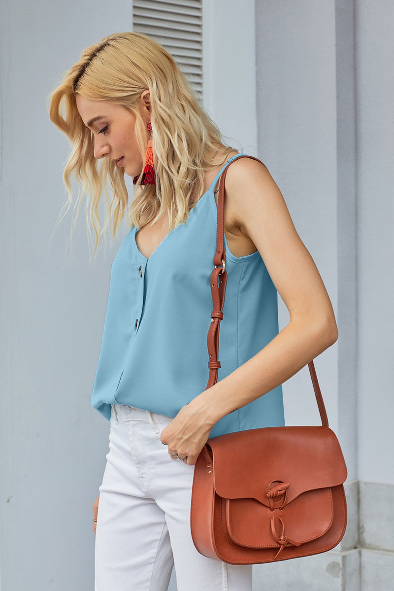 Sky Blue Spaghetti Strap Buttoned Tank Top - GHA Discount